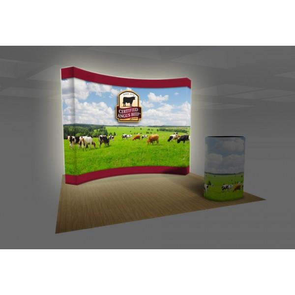 10ft Curved Backlit Burst Fabric Lightbox Trade Show Display